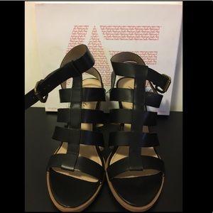Black Strappy Block Heel